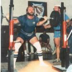 Walter shows excellent form in the squat with this 580 done in Asheboro  June 1984  Johnny Hunter is spotting